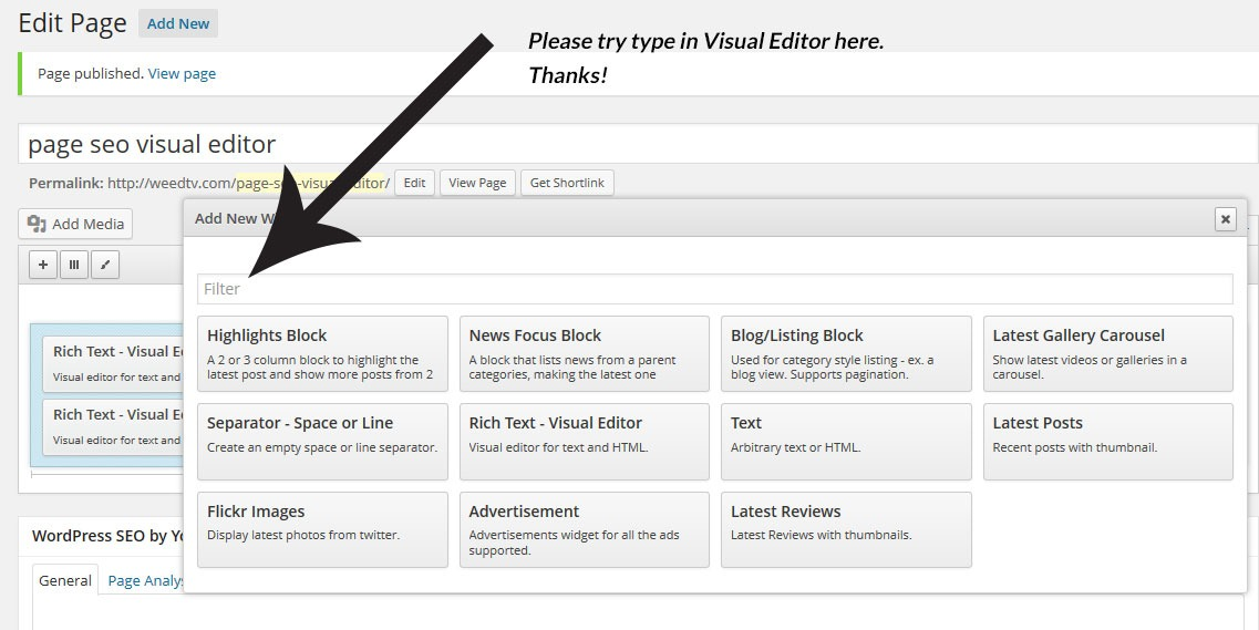 Enter Visual Editor as a search term in the field indicated.