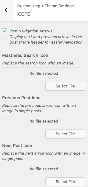 Search and post navigation icons are now customizable.