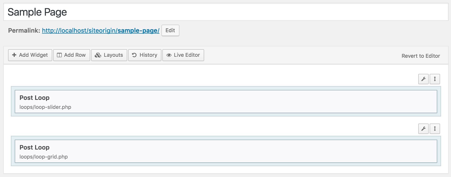 The Posts Slider and Thumbnail Grid templates being used in Page Builder.