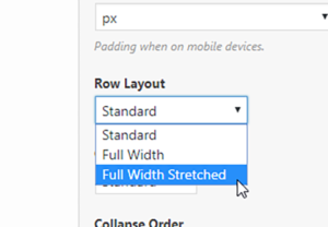 Image of cursor on on the Row Layout drop-down