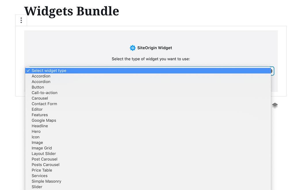 SiteOrigin Widgets in Gutenberg - SiteOrigin