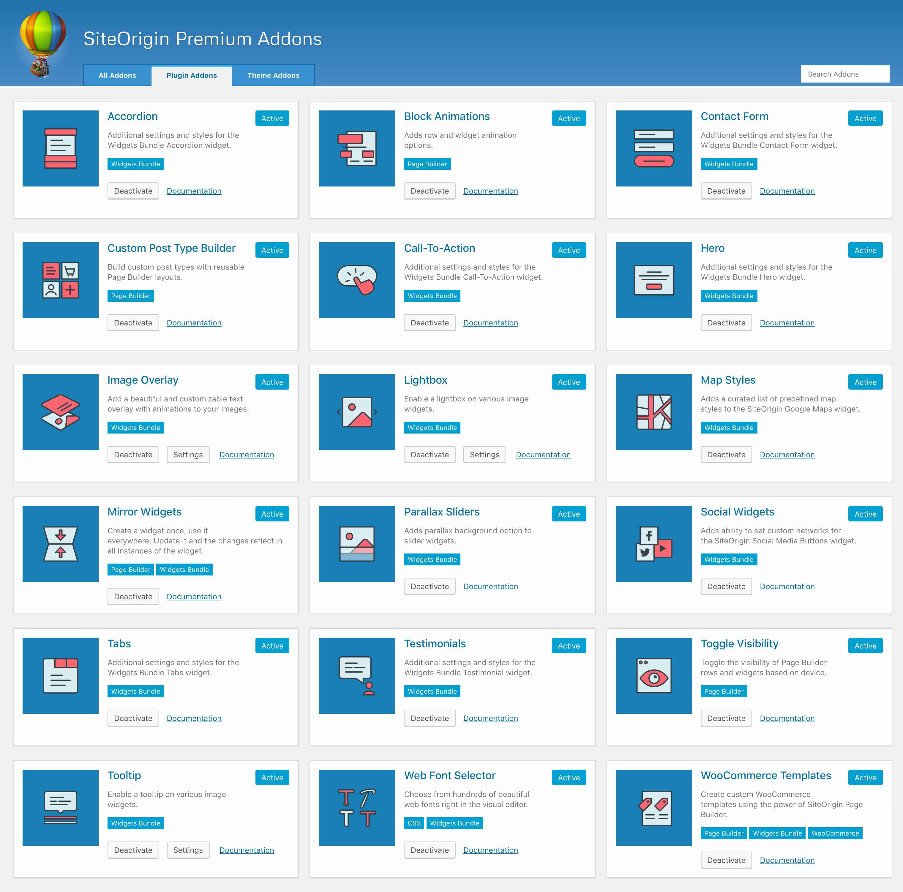 SiteOrigin Premium plugin addons