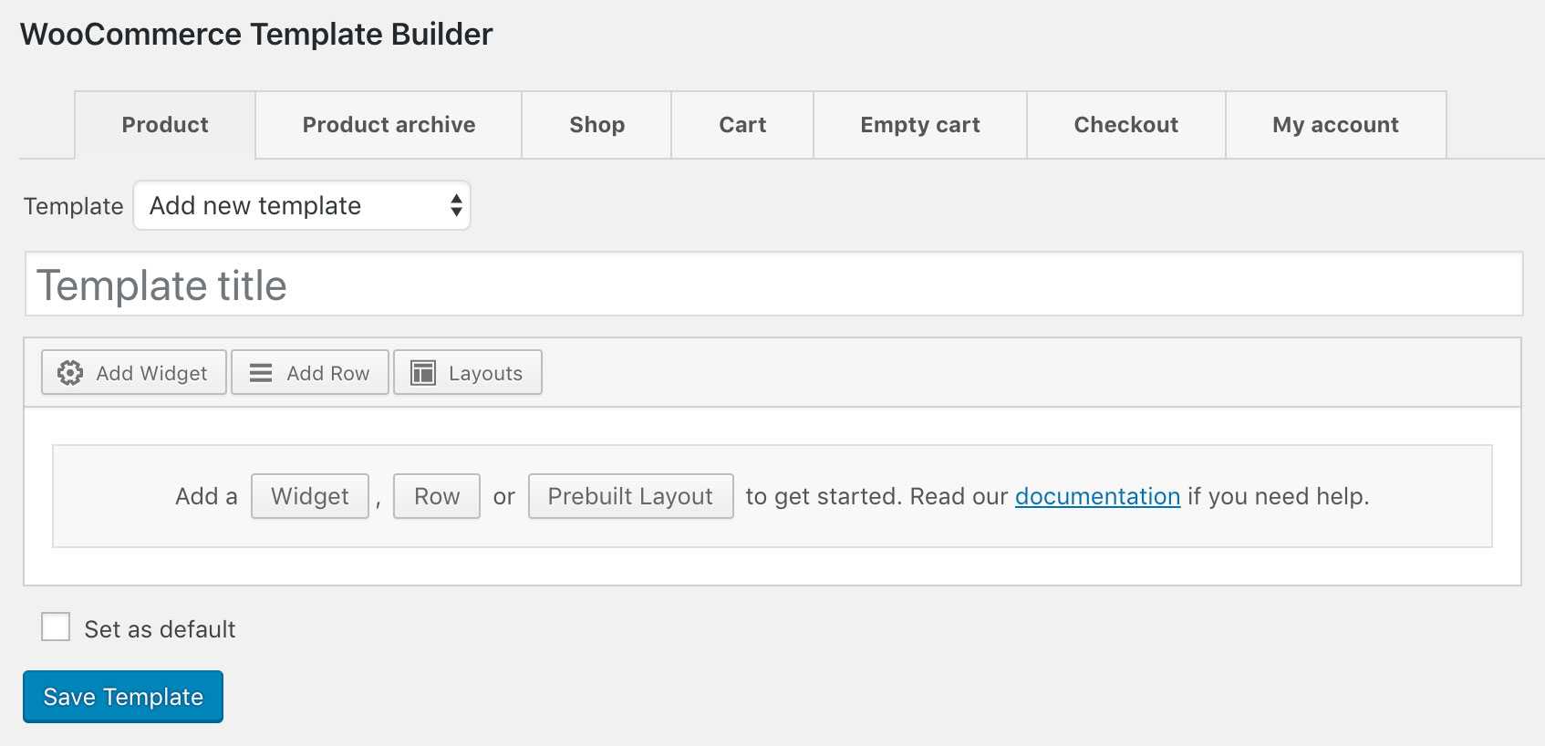 WooCommerce Template Builder Interface