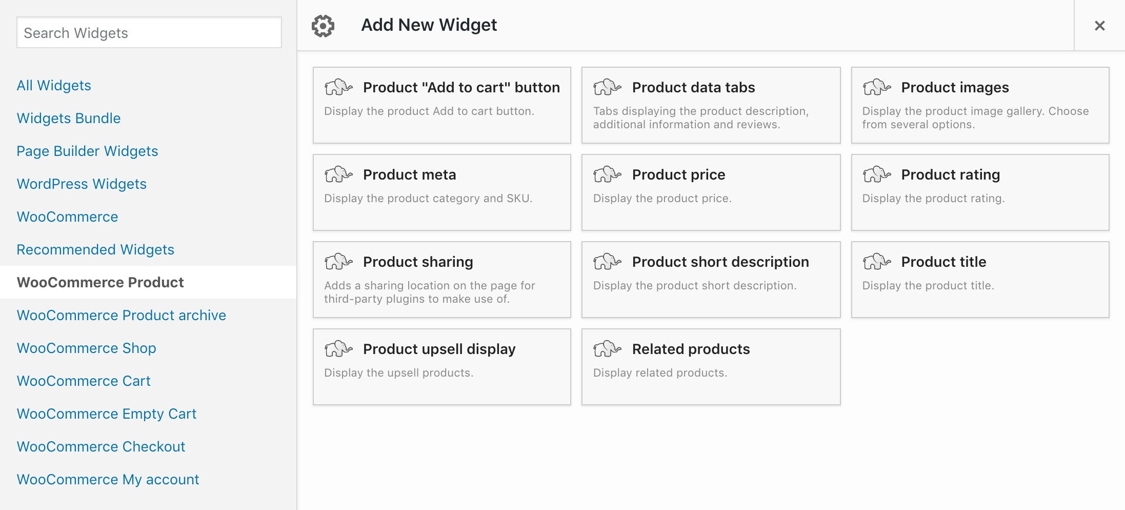 WooCommerce product template widgets